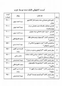 لیست کتب تالیف شده توسط حزب همدلی مردم تهران (همت)